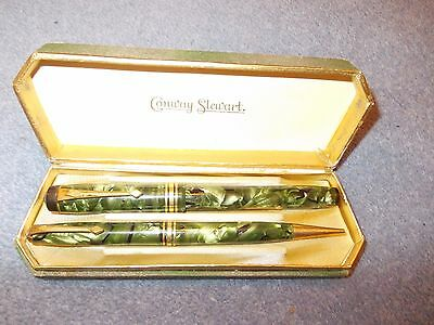 Conway Stewart Green Marble Gold Design Vintage Fountain Pen And Pencil Set 388