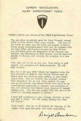 Ww2 Supreme Headquarters Allied Expeditionary Force D Day Letter From Eisenhower