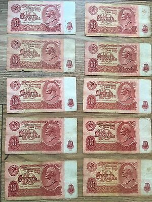 Russian (CCCP) 10 RUBLE BANKNOTES x10