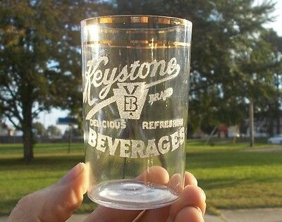 KEYSTONE BRAND BEVERAGES ANTIQUE SODA GLASS 1920s HARRISBURG,PA WITH GOLD TRIM