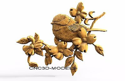 3D Model STL for CNC Router Engraver Carving Artcam Aspire Bird Flowers 8235
