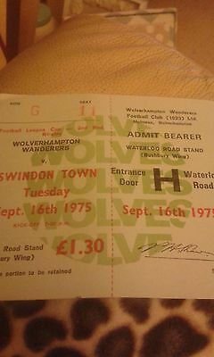 Football Ticket>WOLVES v  SWINDON TOWN 16/9/1975 LEAGUE CUP