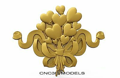 3D Model STL for CNC Router Engraver Carving Artcam Aspire Love Heart 8337