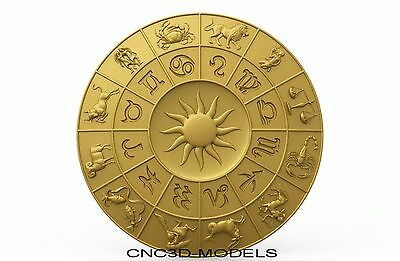 3D Model STL for CNC Router Carving Artcam Aspire Horoscope Zodiac Signs 8343