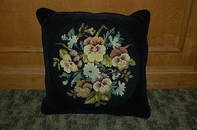 Striking Vintage Needlepoint Pillow  Black And Floral Pattern