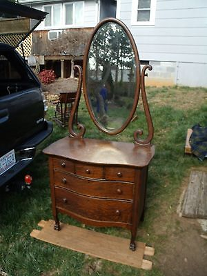 Antique OAK Vanity princess dresser TIGER QUARTER SAWN BEVEL MIRROR w/ DRAWERS