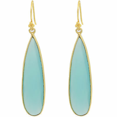 Chalcedony Turquoise-Color Earrings Drop Dangling Yellow Gold Plated on Silver