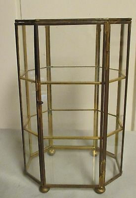 Vintage Table Top Octagon Brass & Glass Footed Curio Display Footed Cabinet