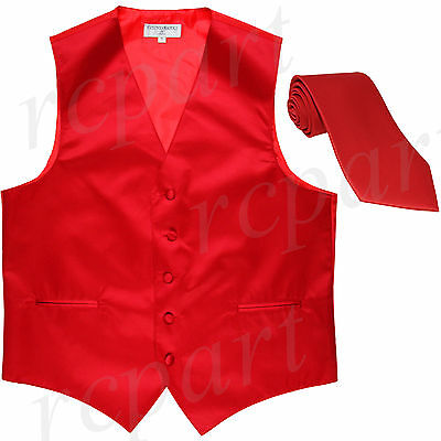 New Polyester formal Men's Tuxedo Vest Waistcoat & tie solid Red Prom