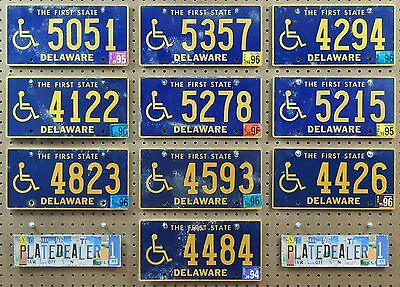 10 DELAWARE First State Wheelchair Flat License Plates Hobbies Tags LOT 051