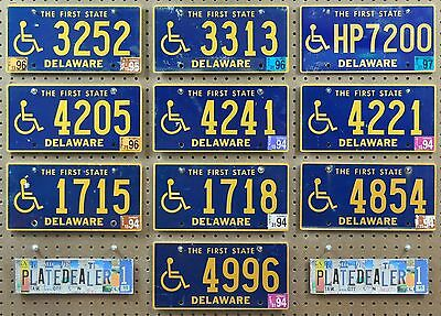 10 DELAWARE First State Wheelchair Flat License Plates Hobbies Tags LOT 252
