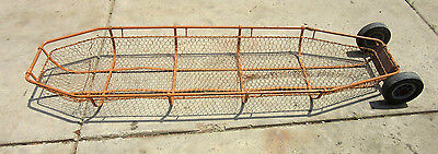 Wire Mesh & Steel Litter Rescue Basket and Stretcher WIth Wheels Orange