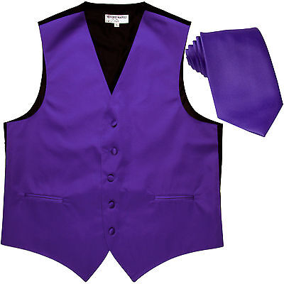 New Polyester Formal Men's Tuxedo Vest Waistcoat & tie solid Purple prom