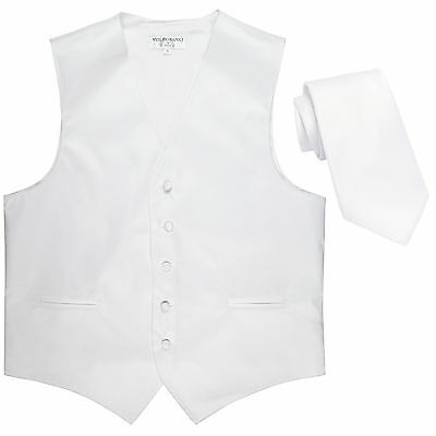 New Polyester Formal Men's Tuxedo Vest Waistcoat & tie solid White prom