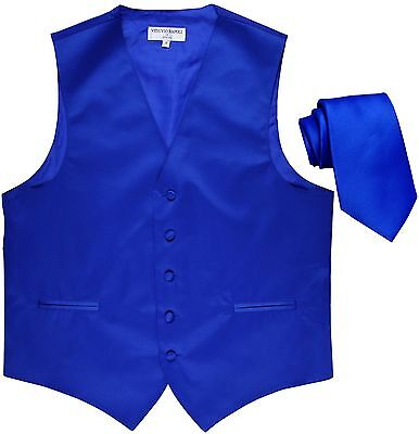 New Polyester Formal Men's Tuxedo Vest Waistcoat & tie Solid Royal blue Prom