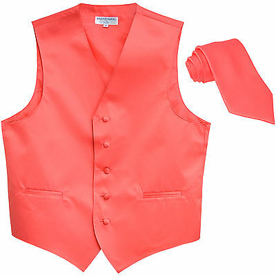 New Polyester Formal Men's Tuxedo Vest Waistcoat & tie solid coral wedding prom