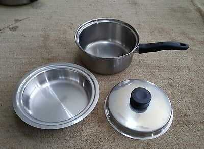 VINTAGE 3 QT QUEEN AMWAY SAUCE PAN POT with 1 qt Double Boiler Insert and LID