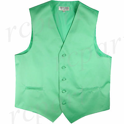 New polyester men's tuxedo vest waistcoat only solid wedding formal aqua green