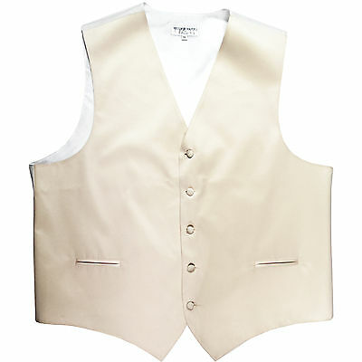 New polyester men's tuxedo vest waistcoat only solid wedding formal ivory