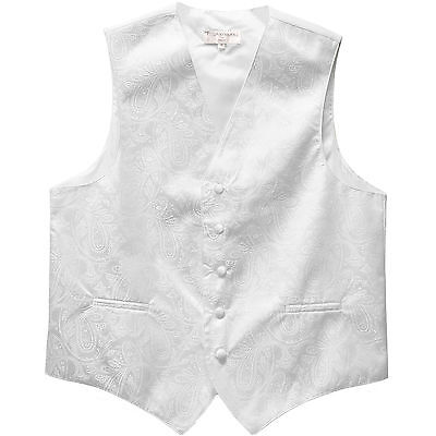 New Polyester Men's Tuxedo Vest Waistcoat only Paisley Pattern White Prom formal