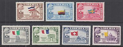 Liberia Sc 368/C117 MNH. 1958 European Visit, complete set with Inverted Centers