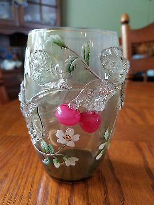 Victorian Art Glass Opalescent Vase Applied Cherry Blossoms Hand painted Flowers