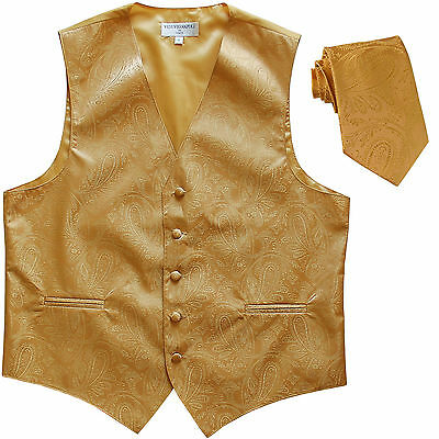 New Polyester Men's Tuxedo Vest Waistcoat & tie Paisley gold wedding formal