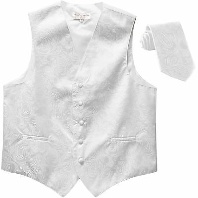New Polyester Men's Tuxedo Vest Waistcoat & tie Paisley White wedding formal