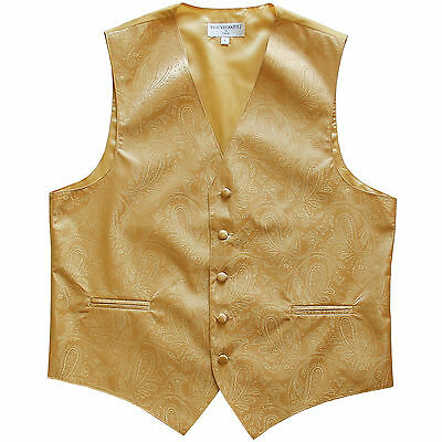 New Polyester Men's Tuxedo Vest Waistcoat only Paisley Pattern Gold Prom formal