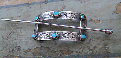 VINTAGE NAVAJO TURQUOISE SILVER HAIR PIN BARRETTE w/ WITH MODERN PIN