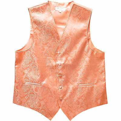 New Polyester Men's Tuxedo Vest Waistcoat only Paisley Pattern Peach Prom formal