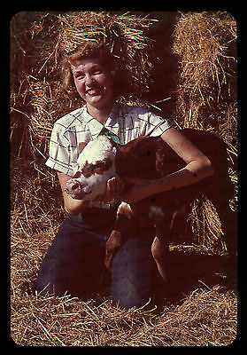 (33) Vintage 1950s 35mm Slide Photo - PRETTY GIRL / MODEL  with PIG