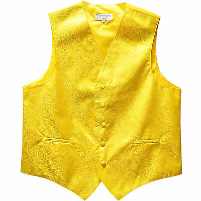 New Polyester Men's Tuxedo Vest Waistcoat only Paisley Yellow Prom formal