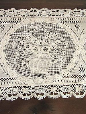Antique Net Cluny Filet Lace Upright Piano Scarf or Runner Flower Baskets