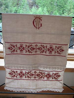 "Antique Fabulous Heavy Hand Embroidery Monogram Show Towel ""GW"" Red Tan"