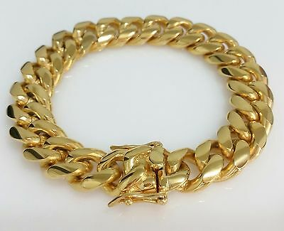 """Men 18K Yellow Gold Plated Stainless Steel 14mm 8.5"""" Miami Cuban Link Bracelet"""