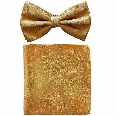 New formal Men's polyester pre-tied bow tie & hankie set paisley Gold wedding