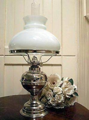 New Antique Reproduction Rayo Style Nickel Kerosene Oil Lamp