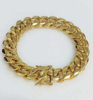 """Men 18K Yellow Gold Plated Stainless Steel 12mm 8.5"""" Miami Cuban Link Bracelet"""