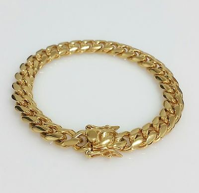 """Men 18K Yellow Gold Plated Stainless Steel 10mm 8.5"""" Miami Cuban Link Bracelet"""