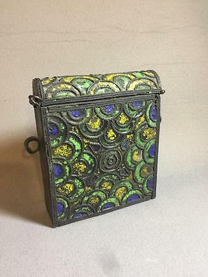 Antique Enamel Silver Metal Moraccan Islamic Quran Box Case Rare Nr