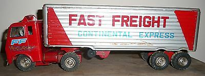 Vintage Tin Fast Freight Continental Express Us Rubber Toy Truck Trailer Japan