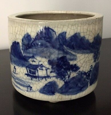 Antique Japanese Bowl: Blue & White 'China' Landscape Pottery Craquelure 19th C.
