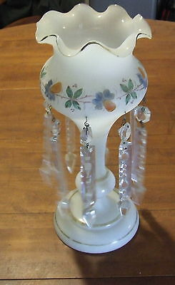 Victorian Opaline Glass Mantel Lustre Vase Lovely Floral Decoration