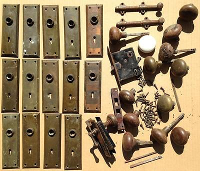huge lot old door knobs plates hardware architectural salvage mortise screws
