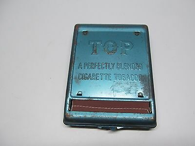 Vintage Cigarette Rolling Paper Tobacco Dispenser Case TOP ~ Blue Tin