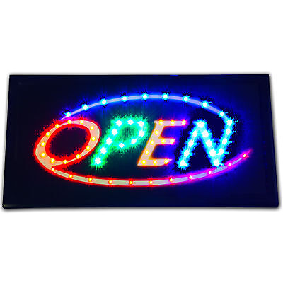 """Bright Animated LED Multi Colorful Open Store business window Sign 19x10"""" neon"""