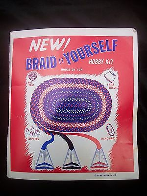 Rug Braiding Kit 6 Cone Folders Cutting Guage Instructions Vintage How To