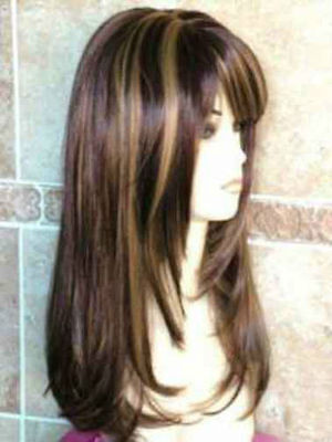CHSW57 fine brown mix long straight health natural hair wigs for women wig
