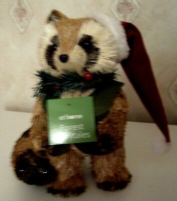 Forest Fairytales Straw Raccoon with Stocking Cap and Green Vest